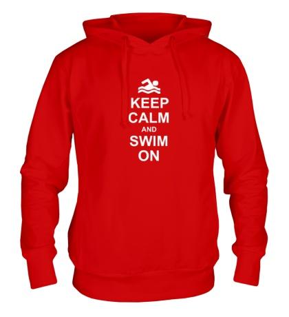 Толстовка с капюшоном Keep calm and swim on.