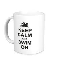 Керамическая кружка Keep calm and swim on.