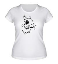 Женская футболка Грустный зайчик