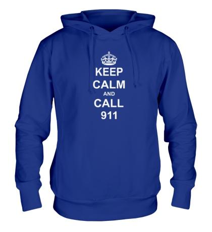 Толстовка с капюшоном Keep calm and call 911