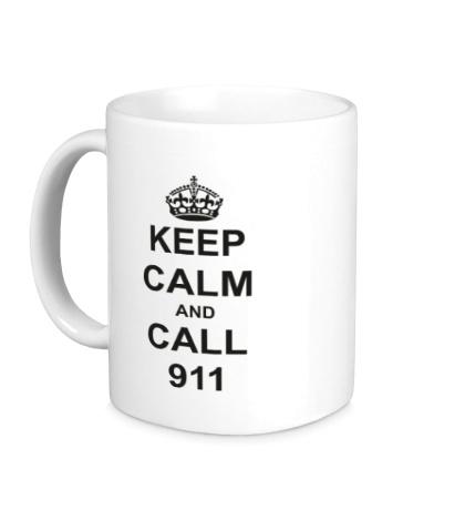 Керамическая кружка Keep calm and call 911