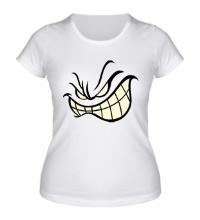 Женская футболка Агрессивный смайл glow