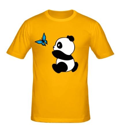 Мужская футболка Панда с бабочкой