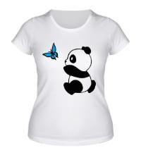 Женская футболка Панда с бабочкой