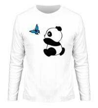 Мужской лонгслив Панда с бабочкой