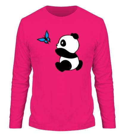 Мужской лонгслив «Панда с бабочкой»