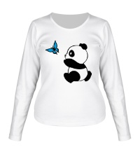 Женский лонгслив Панда с бабочкой