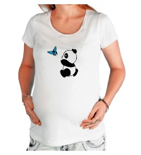 Футболка для беременной Панда с бабочкой