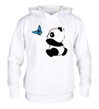 Толстовка с капюшоном Панда с бабочкой