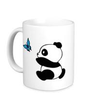 Керамическая кружка Панда с бабочкой