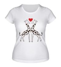 Женская футболка Влюбленные жирафы