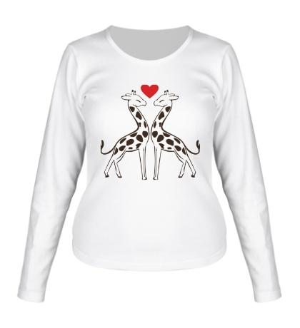 Женский лонгслив «Влюбленные жирафы»