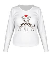Женский лонгслив Влюбленные жирафы