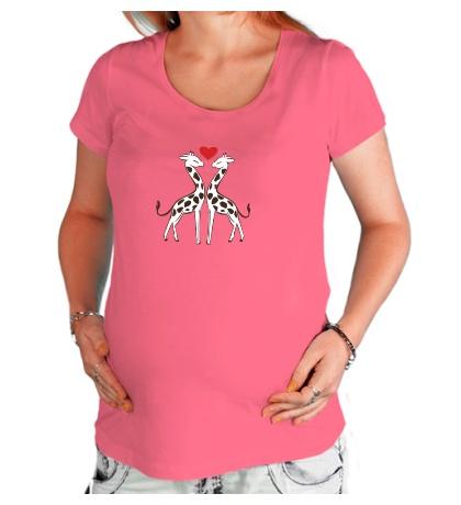 Футболка для беременной Влюбленные жирафы