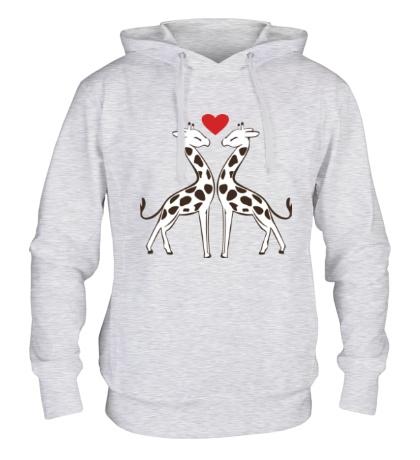 Толстовка с капюшоном Влюбленные жирафы