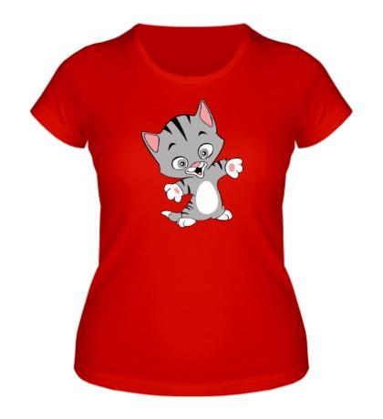 Женская футболка Веселый котенок