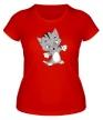 Женская футболка «Веселый котенок» - Фото 1