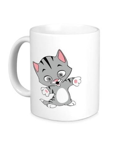Керамическая кружка Веселый котенок