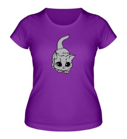 Женская футболка «Глазастый котенок»