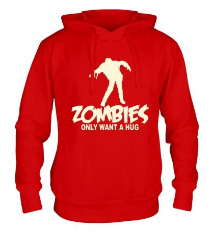 Толстовка с капюшоном Zombies only want a hug glow