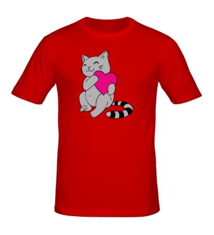 Мужская футболка Котенок с сердцем