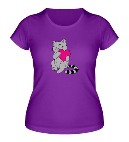 Женская футболка Котенок с сердцем