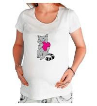 Футболка для беременной Котенок с сердцем
