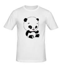 Мужская футболка Панда смеется