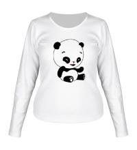 Женский лонгслив Панда смеется
